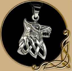 Silver Fenrir Pendant with Celtic Knot